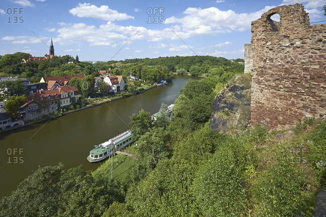 View from Giebichenstein Castle to the river Saale in Halle/Saale, Saxony-Anhalt, Germany