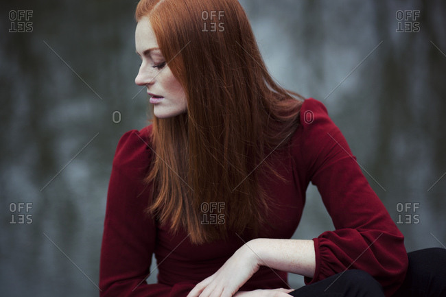 Woman with long red hair, portrait