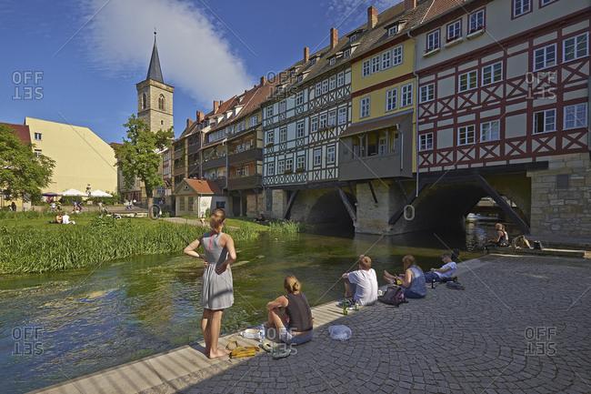 June 6, 2014: Chandler Bridge with Aegidien Tower in Erfurt, Thuringia, Germany, Europe
