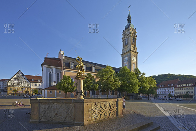June 6, 2014: Georgskirche and fountain at the market, Eisenach, Thuringia, Germany, Europe
