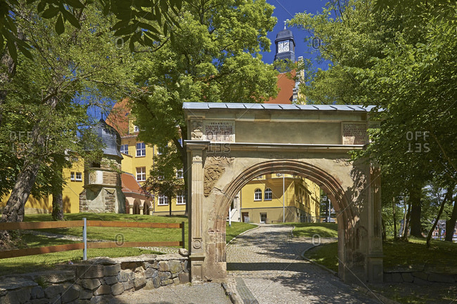 State control school Max Greil with pulpit tower and portal in Weida, Thuringia, Germany, Europe