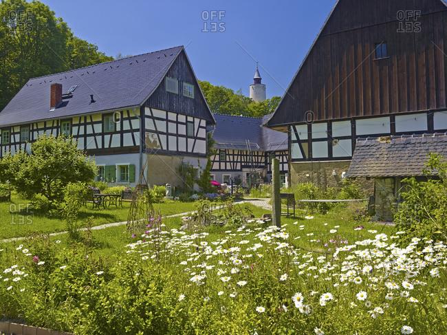Art and herb garden from the Auenhof in Posterstein, Lk. Altenburg, Thuringia, Germany