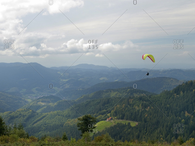 Kniebis with paraglider, Black Forest, Baden-Wurttemberg, Germany, Europe