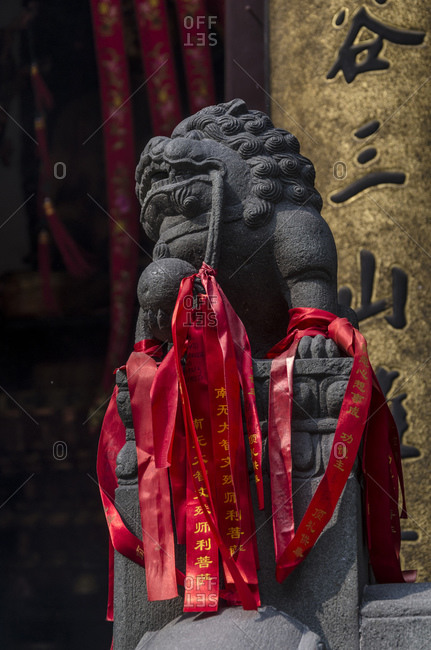 October 21, 2013: Sculptures in the Jade Buddha Temple, Puxi, Shanghai, China, Asia