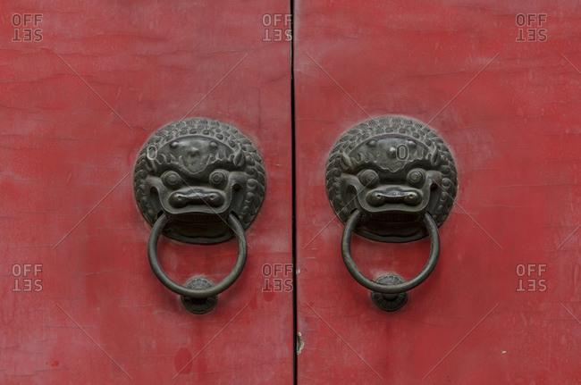 Door knocker, Jade Buddha Temple, Puxi, Shanghai, China, Asia
