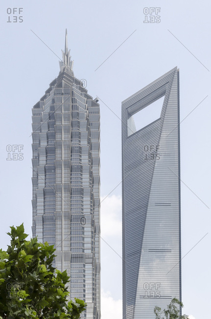 October 20, 2013: Jin Mao Tower and Shanghai World Financial Center, Pudong, Shanghai, China