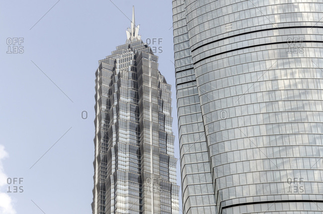 October 20, 2013: Jin Mao Tower and Shanghai Tower facade, Pudong, Shanghai, China