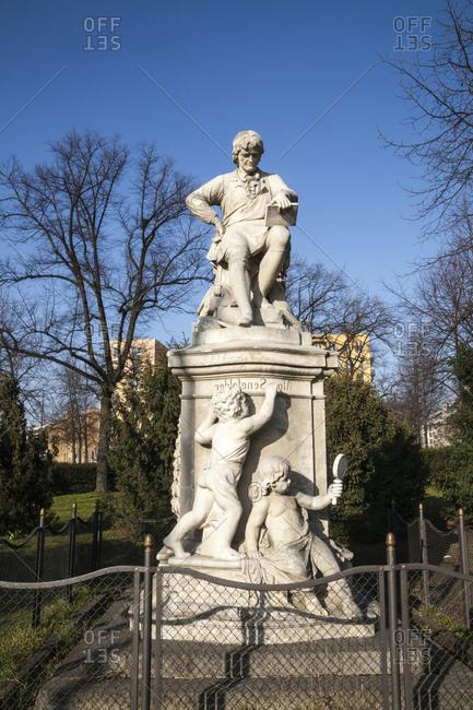 March 10, 2014: Alois Senefelder Monument, Senefelder Platz, Prenzlauer Berg, Berlin, Germany, Europe