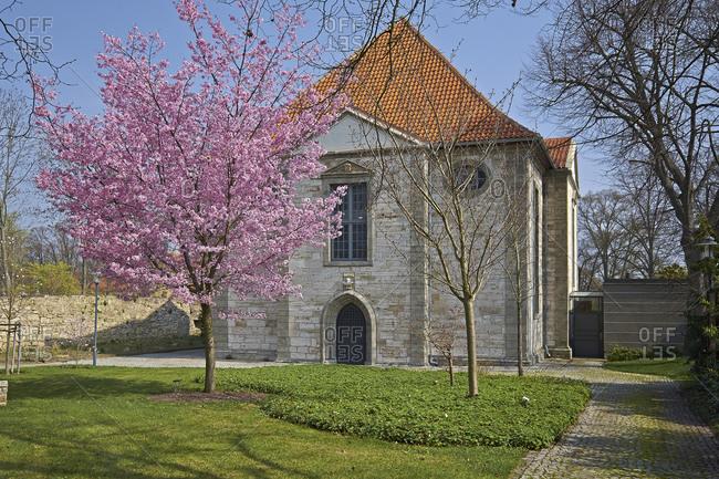 April 2, 2014: Arboretum with Trinity Church in Bad Langensalza, Thuringia, Germany, Europe