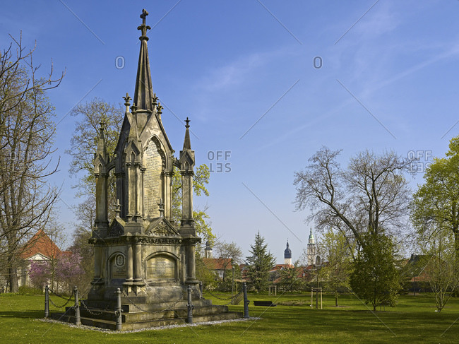 April 2, 2014: War memorial in the arboretum in Bad Langensalza, Thuringia, Germany, Europe
