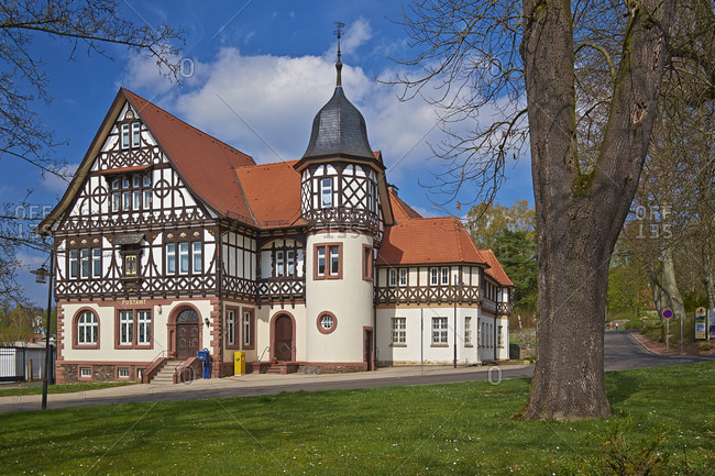 April 6, 2014: Half-timbered post office building in Bad Liebenstein, Wartburgkreis, Thuringia, Germany, Europe