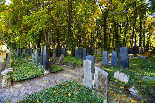 October 14, 2013: Jewish cemetery on Schonhauser Allee, Prenzlauer Berg, Pankow, Berlin, Germany, Europe