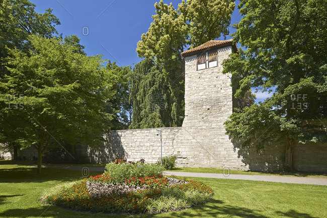 Defensive tower of the city wall in Muhlhausen, Thuringia, Germany