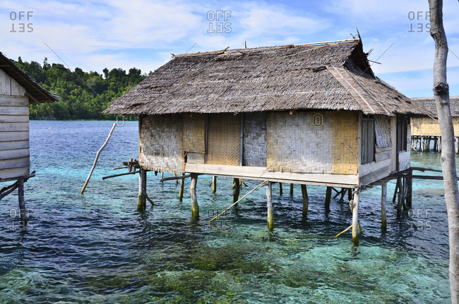 Village with stilt houses of the Bajau sea nomads, Malenge Island, Tomini Bay, Togian Islands, Sulawesi, Indonesia