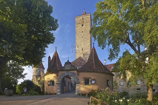 Castle gate at the castle garden in Rothenburg ob der Tauber, Middle Franconia, Bavaria, Germany
