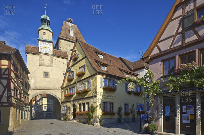 July 19, 2014: Rodergasse with Markusturm and Roderbogen, Rothenburg ob der Tauber, Middle Franconia, Bavaria, Germany