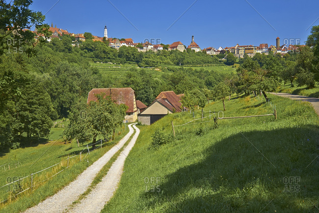 City view from the Taubertal, Rothenburg ob der Tauber, Bavaria, Germany