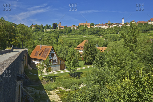 July 19, 2014: View from the double bridge to the old town, Rothenburg ob der Tauber, Middle Franconia, Bavaria, Germany