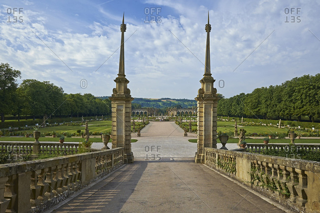 Baroque garden of Weikersheim Castle, Main-Tauber district, Baden-Wurttemberg, Germany