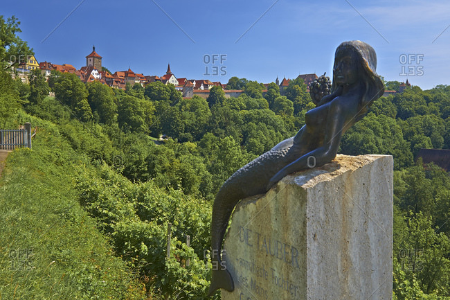 July 19, 2014: Plastic of the Taubernixe in the vineyard, Rothenburg ob der Tauber, Middle Franconia, Bavaria, Germany
