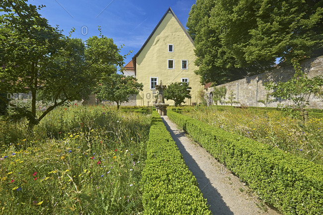 Monastery and herb garden at the Reichsstadtmuseum in Rothenburg ob der Tauber, Bavaria, Germany