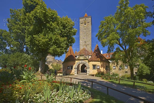 July 19, 2014: Castle gate at the castle garden in Rothenburg ob der Tauber, Middle Franconia, Bavaria, Germany