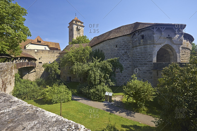 July 19, 2014: Hospital gate and hospital bastion in Rothenburg ob der Tauber, Middle Franconia, Bavaria, Germany