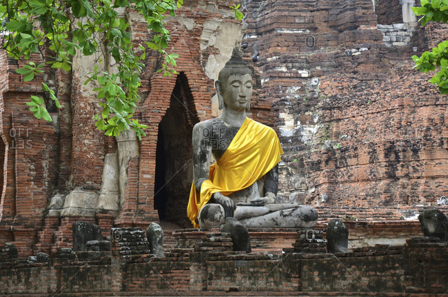 Buddha statue, Wat Mahathat temple in the old royal city of Ayutthaya, Thailand