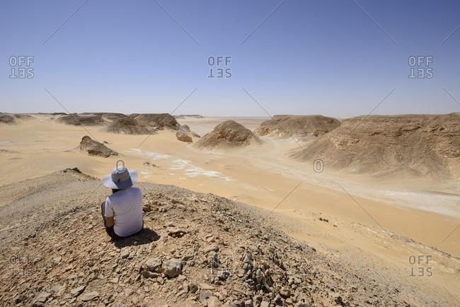 Woman in the White Desert, Sahara, Egypt
