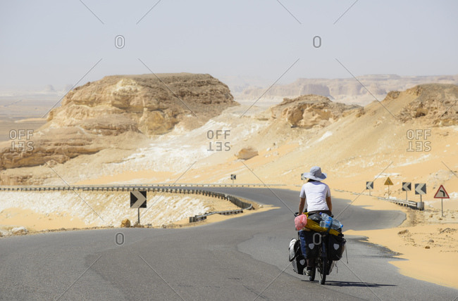 Cycling in the White Desert, Sahara, Egypt