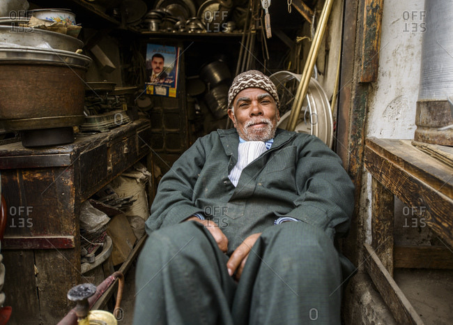 March 18, 2014: Street vendor in Islamic Cairo, Egypt