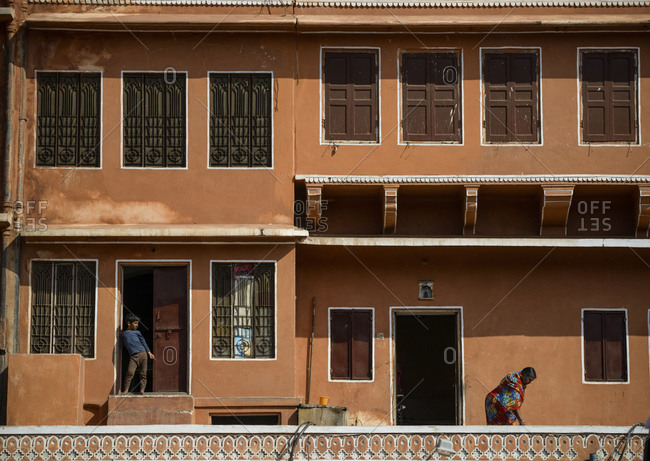 March 4, 2014: Jaipur pink city, facade, India