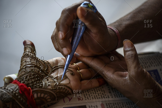 Traditional henna painting, Jaipur, India