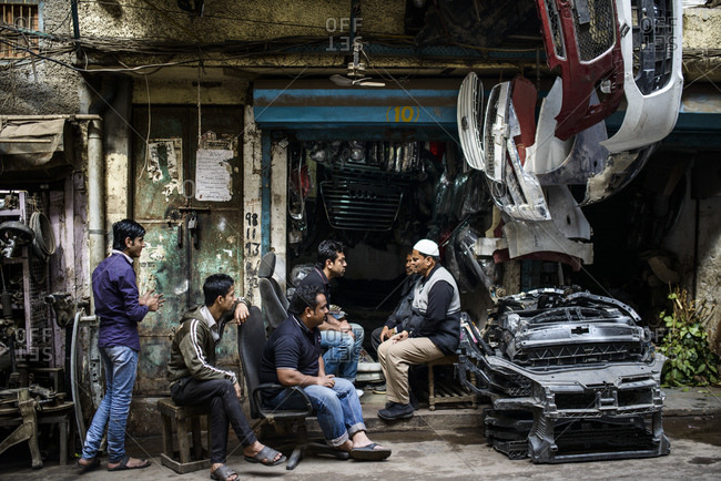 March 11, 2014: Car spare parts dealer, Old Delhi, India
