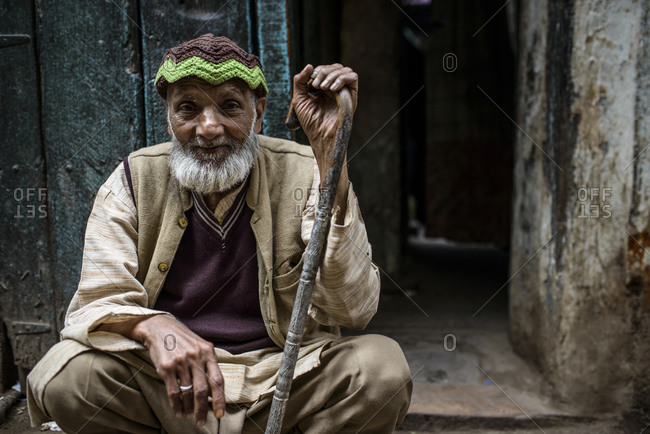 March 11, 2014: Old man in the streets of Old Delhi, India