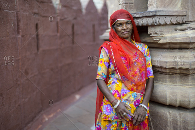 March 6, 2014: Rajasthani woman in the fortress of Jodhpur, India