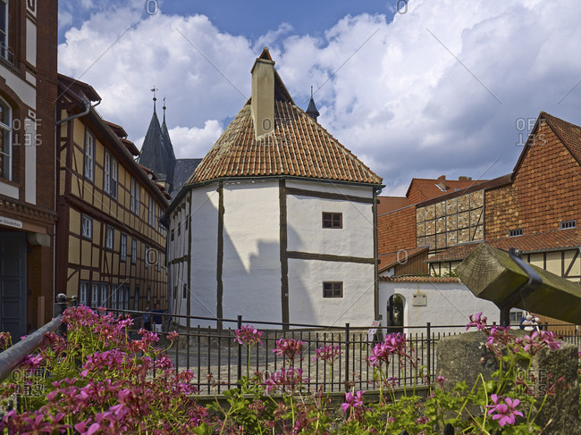 August 8, 2014: Stand construction, half-timbered museum Wordgasse, Quedlinburg, Saxony-Anhalt, Germany