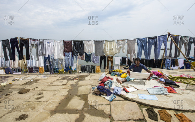 March 1, 2014: Clothes hang to dry on the Ganges River, Varanasi, India