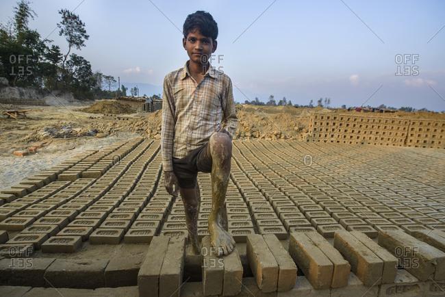 February 12, 2014: Worker of a brickyard, Mahendranagar, West Terai, Nepal