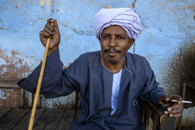April 13, 2014: Man sits in tea house near Aswan, Egypt