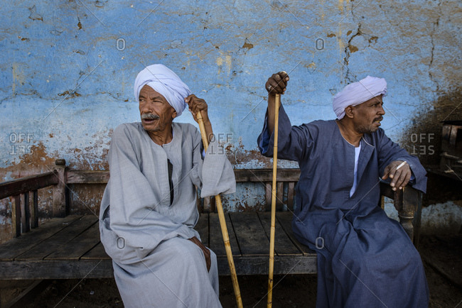 April 13, 2014: Men sit in the tea house near Aswan, Egypt
