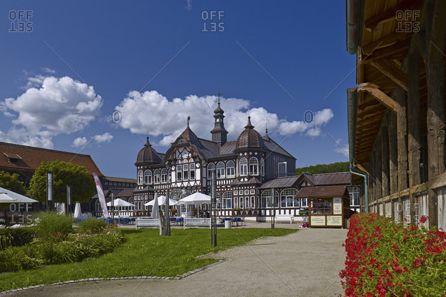 August 11, 2014: Middle building of the graduation tower in Bad Salzungen, Thuringia, Germany