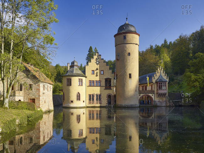 October 3, 2014: Mespelbrunn moated castle in Spessart, Lower Franconia, Bavaria, Germany
