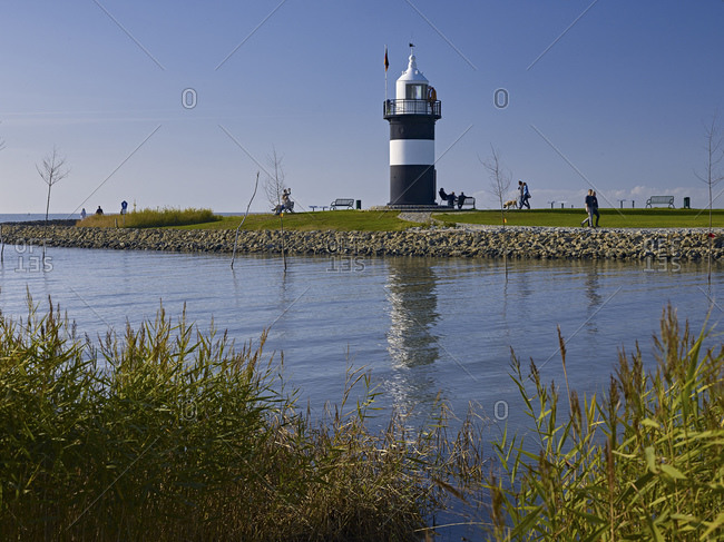 September 27, 2014: Little Preusse lighthouse in the port of Wremen, Wurster coast, Cuxhaven district, Lower Saxony, Germany
