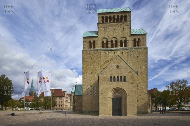 September 25, 2014: Westwerk from St. Mariae cathedral in Hildesheim, Lower Saxony, Germany