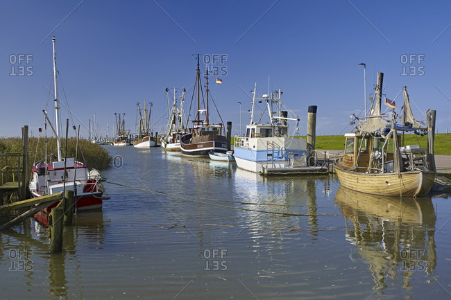 September 27, 2014: Harbor in Spieka Neufeld, Wurster coast, Lower Saxony, Germany