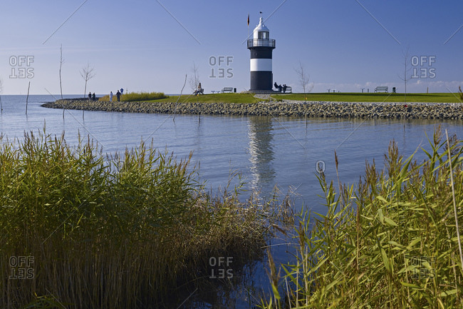 Little Preusse lighthouse in the port of Wremen, Wurster coast, Cuxhaven district, Lower Saxony, Germany