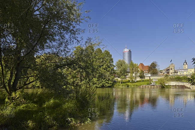 September 17, 2014: Saale at the Jena Paradies station and Intershoptower in Jena, Thuringia, Germany