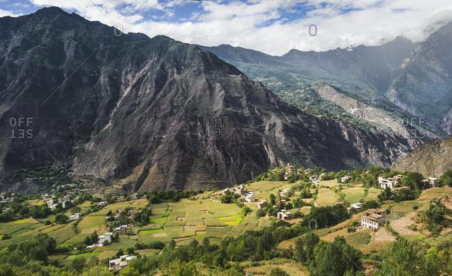 Towers of the Tibetan village of Danba in the Tibetan Plateau, Sichuan Province, China