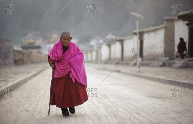 October 10, 2012: Old monk at Labrang monastery, Gansu province, China
